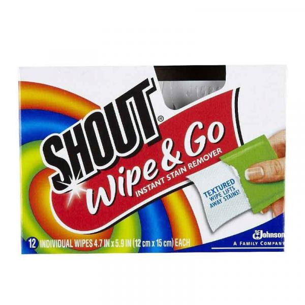 Shout Stain Remover Wipes Box 12CT