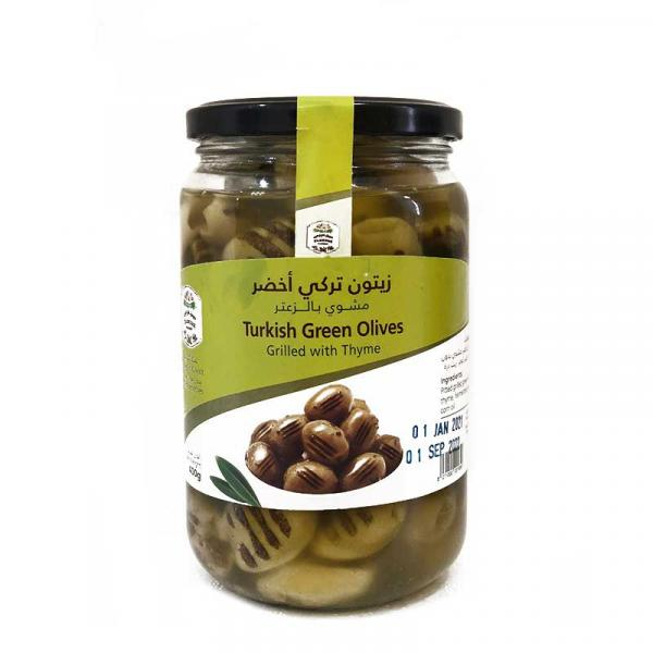 Farmers Market Turkish Grilled Green Olives with Thyme Glass Jar 400g