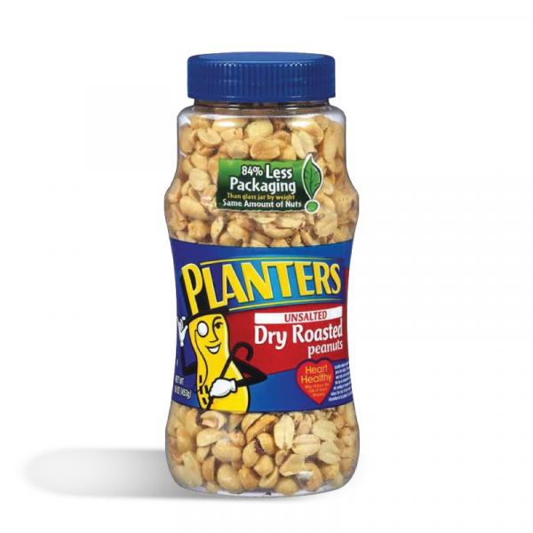 Planters Peanuts Dry Roasted Unsalted Box 16OZ
